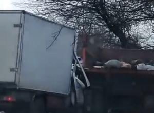 Пытавшийся выбраться из «Газели» после жесткого ДТП с мусоровозом человек попал на видео под Ставрополем