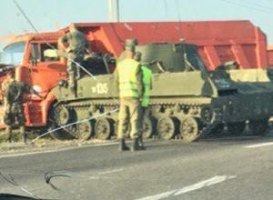 Суровое ДТП по-ставропольски: военный танк въехал в «КамАЗ» под Старомарьевкой