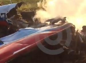 Появилось видео сгоревшего и разбитого после крушения самолета на Ставрополье