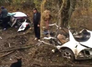 «Тойоту-Марк» разорвало на две части при столкновении с деревом на трассе Ростов - Ставрополь
