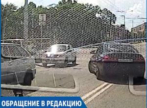 Автохам нагло пересек две сплошные линии в Ставрополе
