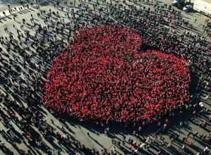 Гигантское живое сердце выстроят ставропольцы в день города на площади Ленина