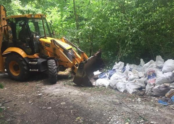 Три грузовика строительного мусора: лес Железноводска очистили от отходов