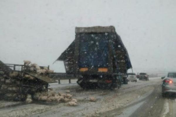 Куры рассыпались на трассе Ставрополья из-за неосторожности водителя грузовика
