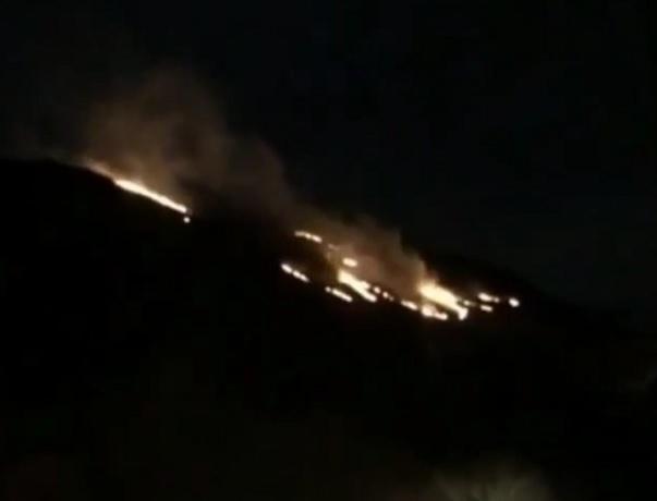 Склон санатория в Кисловодске охватил огонь в канун Нового года