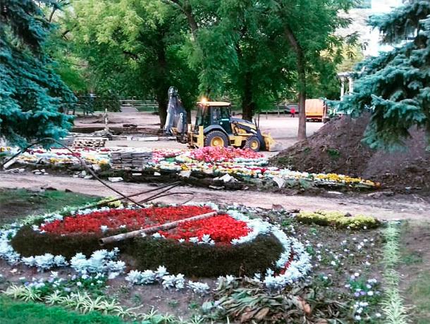 В знаменитом пятигорском парке «Цветник» демонтировали фонтан и разрыли клумбы