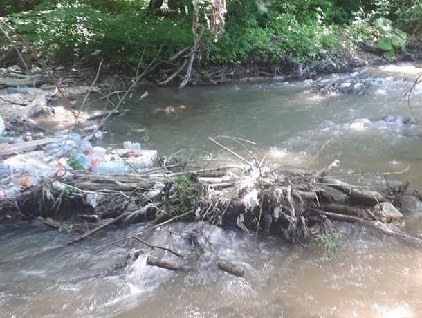 Реку перекрыли рухнувшие деревья и горы мусора в Пятигорске