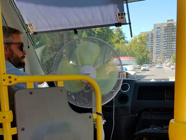 Заботливый водитель автобуса установил вентилятор для пассажиров в Ставрополе