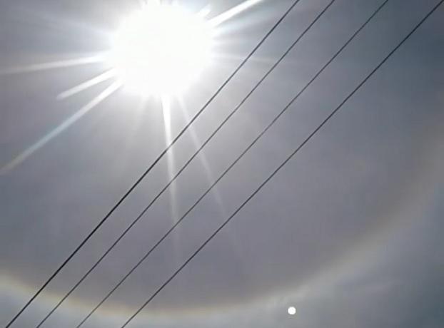 Удивительное кольцо радуги вокруг солнца наблюдали жители Ставрополя