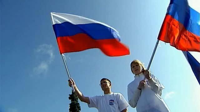 Празничный забег на светофоре в честь Дня флага устроили участники флэшмоба