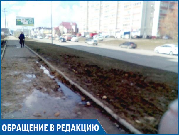 Невозможно ходить по тротуару, приходится обходить по бордюру лужу и камни, - возмущенный житель Ставрополя о тротуаре